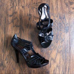 Stuart Weitzman • black patent platform sandals